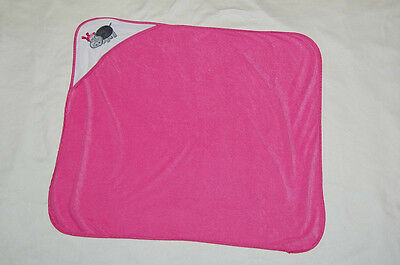L'AMOUR baby kiss hot pink white hooded baby toddler super soft hippo bath towel