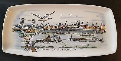 Holland America Cruises Vintage Ash tray depicts Port of Rotterdam. ss Rotterdam