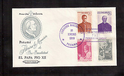 Panama 1959 First Day Cover, Set 4 Stamps # 422, C210/12 Pope Pius Xii !!