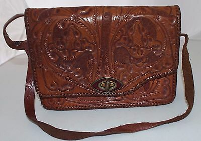 Vintage 50s Hand Tooled Mexican Brown Leather Purse Floral Design