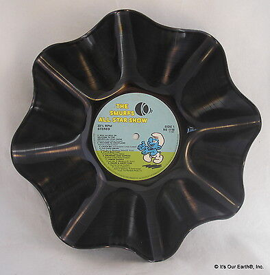 """THE SMURFS Recycled Record Bowl """"All Star Show"""" 1981 Kids Record Gift"""