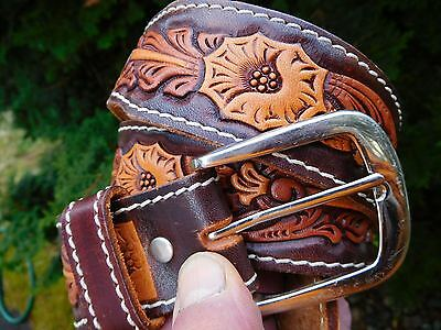 Vintage Sears Hand Painted Tooled Brown Leather Western Cowboy Belt Sz 34 Nos