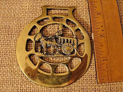 Horse & Carriage Harness Brass,Vintage Brass Horse Bridle MEDALLION Ornament