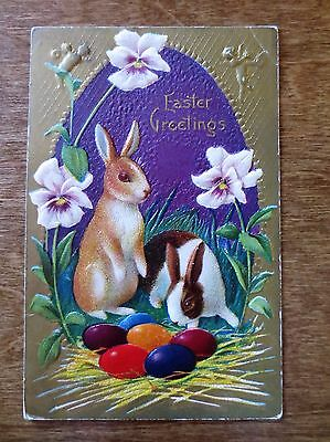 Early 1900s Easter Greeting Embossed Holiday Postcard Rabbits Bunnies Egg Posted