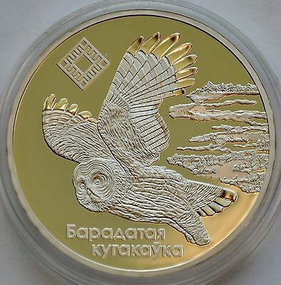 20 Rubles, 2005 Belarus, Proof, The Bogs of Almany, Owl, Silver Coin