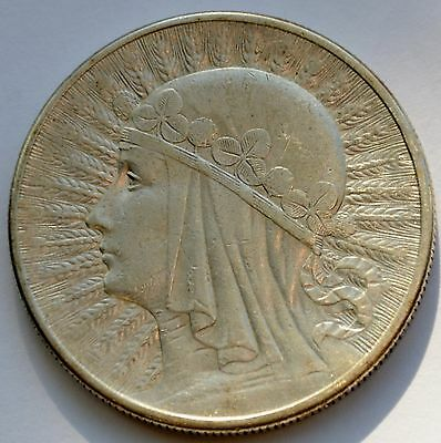 10 Zlotych Silver coin, Queen Jadwiga 1932, London Mint, no mint mark 3