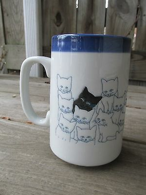 Otagiri Tall 16 Ounce Cat Black White Group Coffee Mug Cup Embossed Japanese