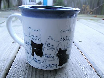 Otagiri 12 Short Ounce Cat Black White Group Coffee Mug Cup Embossed Japanese