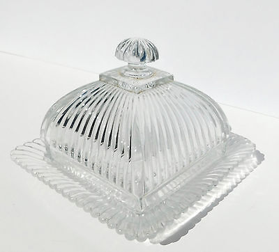 Antique EAPG Square US Glass Ribbed Glass Dome Covered Butter Dish Cheese Plate