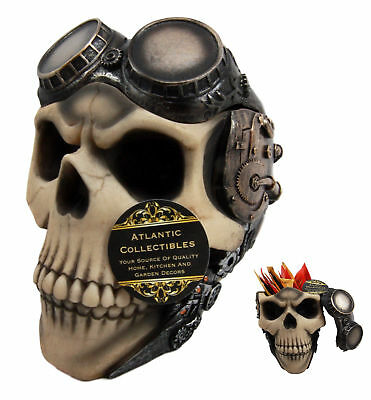 "Steampunk Cyborg Aviator Skull Skeleton Decorative Box Or Ashtray Figurine 5.5""H"