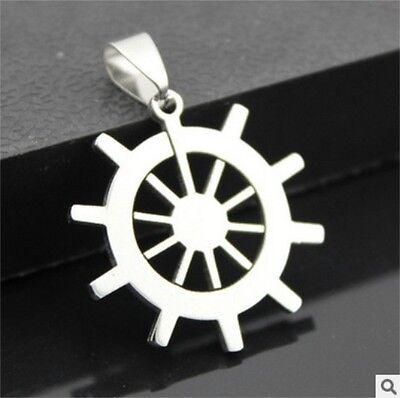 NEW rudder woman's man's Silver 316L Stainless Steel Titanium Pendant Necklace