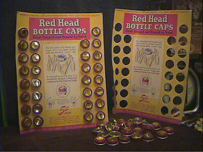 30 Vintage 1944 Red Head Bottle Caps ( New Old Stock ) On Original Diaplay Card