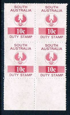 South Australia, 10c Blk of 4, Revenue Stamps, MNG.