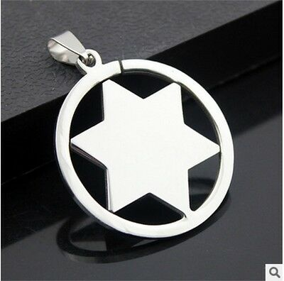 NEW Six-pointed star Men's Silver 316L Stainless Steel Titanium Pendant Necklace