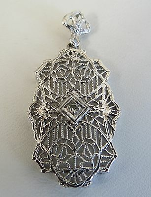 14k white gold antique diamond pendant art deco style petite filigree