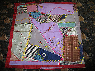 Charming Antique Crazy Quilt Hand Embroidered Pieced~Doll~Quilt c1900s