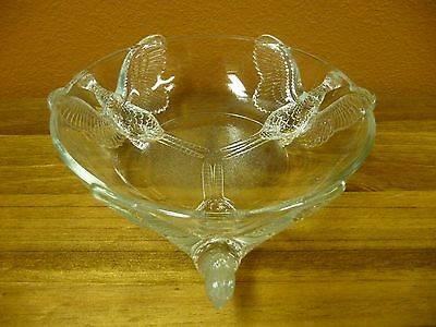 """Vintage Clear Glass Bird Footed Candy Dish 8"""" Bowl"""