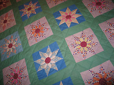 Antique 1930-40s STAR Flower Feed Sack Quilt~Hand Stitched Quilted Appliqued