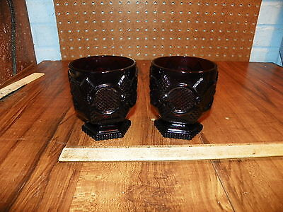 Vintage Set of 2 AVON 1876 CAPE COD Ruby Red Footed Juice Glasses