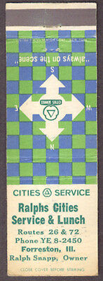 Ralph's Cities Service & Lunch Forreston IL matchcover