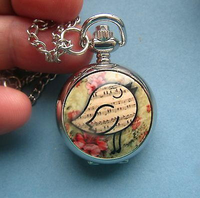 silver vintage necklace pendant pocket mini watch bird sheet music love song
