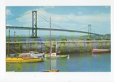 Forth Road Bridge From South Queensferry Old Postcard 0722