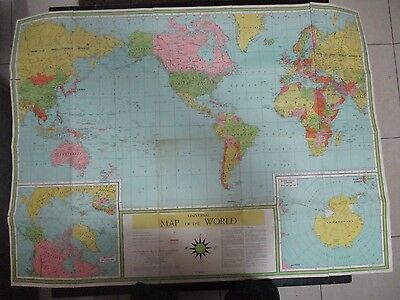 UNIVERSAL MAP OF THE WORLD,LITHOGRAPHED by W.S. KONECKY ASSOC.,USA 1961. cs4306