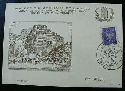 Timbres France FDC Carte journee du timbre JT 1943 Angers