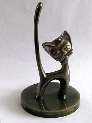 Modern-Looking Metal Cat Ring Holder On Green Mock Onyx/marble