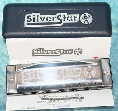 Vintage Hohner Silver Star 10 hole Harmonica in Case with Instructions