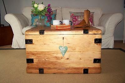 Antique Pine Chest & KEY Victorian Wooden Trunk COFFEE TABLE Blanket Toy Box