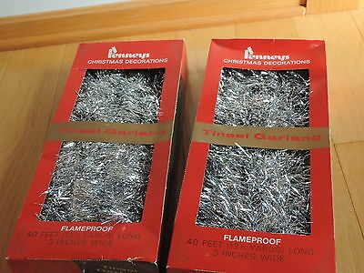"Vintage Christmas Tinsel Garland 3"" Wide 80 Feet Penneys W/ Box (c634)"
