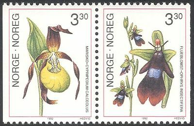 Norway 1992 Lady's-slipper/Fly Orchid/Flowers/Orchids/Nature 2v bklt pr (n43098)