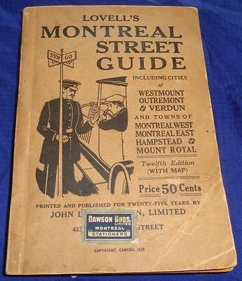 BR1659 Vtg 1929 Quebec Lovell's Montreal Street Guide Map Westmount Outremont