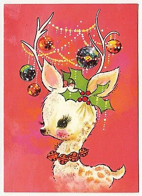 UNUSED Vintage Greeting Card Christmas Ornaments Pink Deer Reindeer Mid-Century