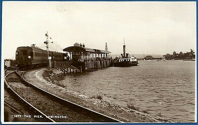 RP Postcard - The Pier, Lymington, Hampshire with Train & Ferry 1935