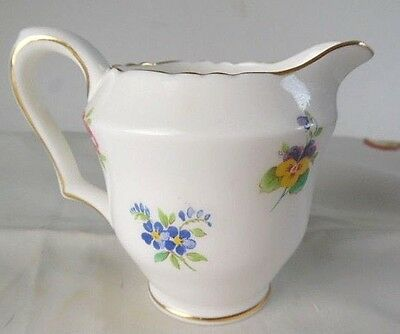 """Crown Staffordshire """"Floral Bouquet"""" Smooth Gold Rimmed Cream Pitcher"""