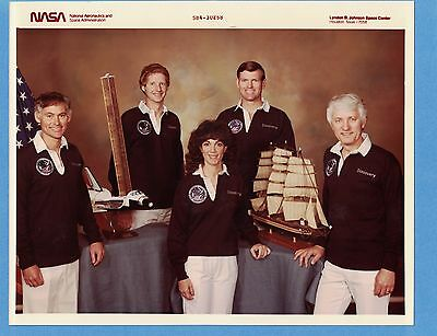 1984 NASA Shuttle Discovery STS-41D, 2 Crew Photos with Resnik, Kodak Glossy