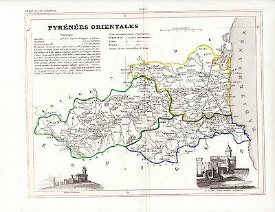1736 Two Antique Maps - Pyrenees Orientales & Basses Pyrenees -South-West France