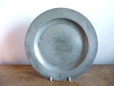 "antique pewter plate 9.5"" 19th or 18th century touch marks, crowned X, GF (A)"