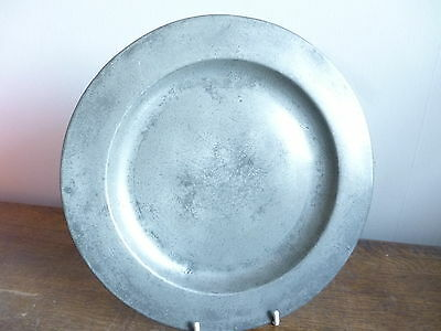 "antique pewter plate 9.5"" 19th or 18th century touch marks, crowned X, GF (B)"