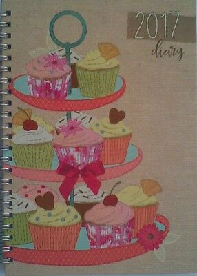 A5  2017 (Cup Cakes)  Students Week To View Spiral Diary/Planner