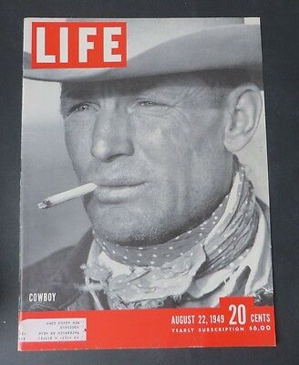 Original Life Magazine COVER ONLY Cowboy  Article August 22 1949