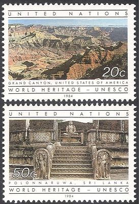 UN (NY) 1984 UNESCO/Temple/Grand Canyon/Buildings/Heritage/Nature  2v set n43000