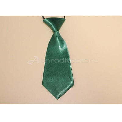 Fashion School Boys Children Kids Wedding Solid Colour Elastic Tie Necktie Green