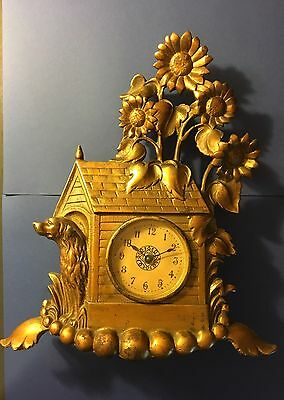 Antique Bronze Clock With Dog And Dog House With Flowers