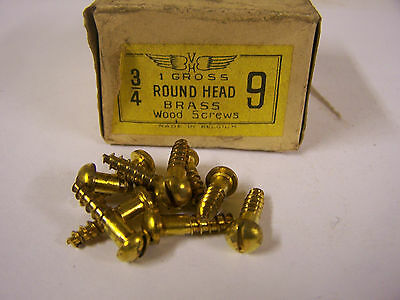 """9 x 3/4"""" Round Head Brass Wood Screw Solid Brass Slotted Made in Belgium Qty.135"""