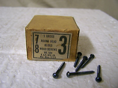 """#3 x 7/8"""" Round Head Blued Wood Screws Slotted Made in USA - Qty 130"""