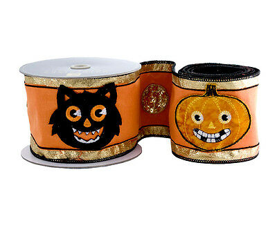 RARE Katherine's Collection Tricky Treats Halloween Cat & Pumpkin Ribbon Sealed