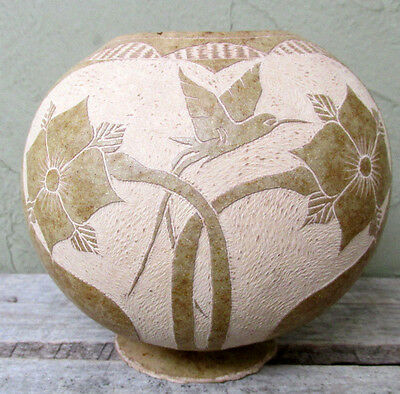 Jamaican Carved Hummingbird Footed Gourd